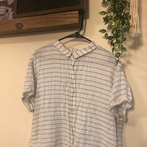 White & blue striped button up